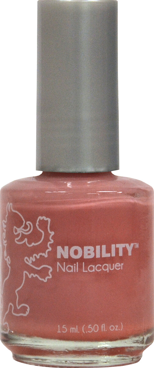 half fluid ounce bottle of Nobility tan nail lacquer.