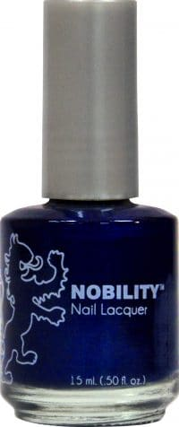 half liquid ounce bottle of dark blue nobility lacquer.
