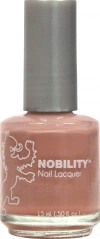 half liquid ounce bottle of tan nobility lacquer.