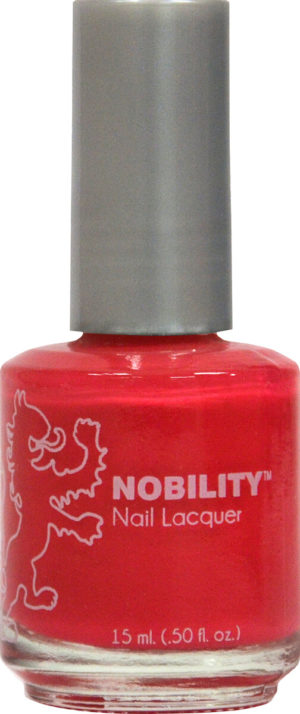 half fluid ounce bottle of Nobility red nail lacquer.