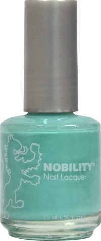 half fluid ounce bottle of Nobility blue nail lacquer.
