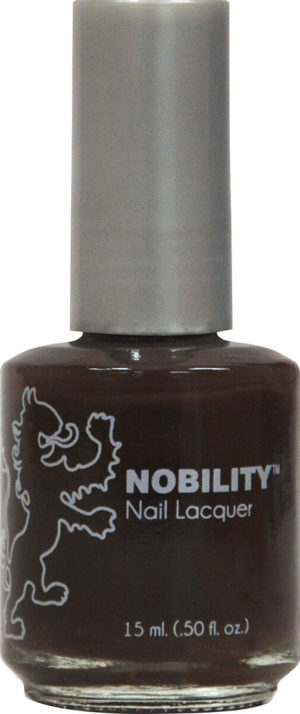 half fluid ounce bottle of Nobility brown nail lacquer.
