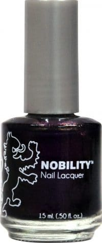 half liquid ounce bottle of dark purple nobility lacquer.