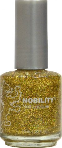 half fluid ounce bottle of Nobility golden and glitter nail lacquer.
