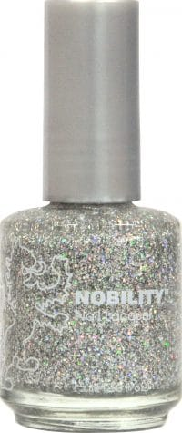 half liquid ounce bottle of silver with glitter nobility lacquer.