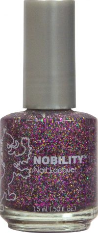 half fluid ounce bottle of Nobility pink and glitter nail lacquer.