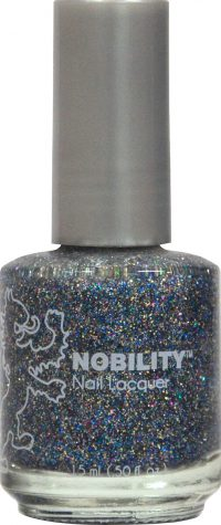 half fluid ounce bottle of Nobility blue and glitter nail lacquer.