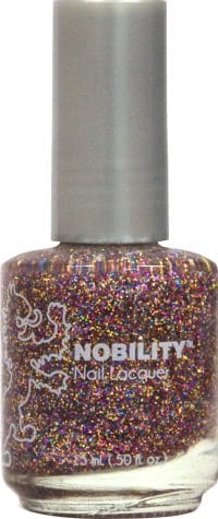 half liquid ounce bottle of brown with glitter nobility lacquer.