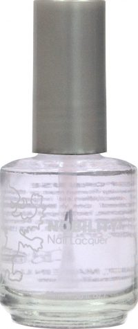 half fluid ounce bottle of Nobility clear nail lacquer.