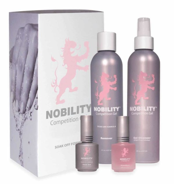Nobility get system kit with products in front of box.