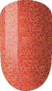 orange with glitter color sample on nail tip.