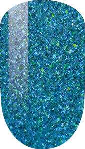 blue with glitter color sample on nail tip.