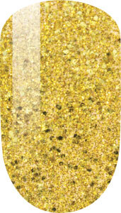 golden color sample on nail-tip.