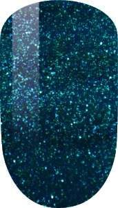 blue and glitter color sample on nail tip.