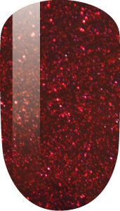 red color sample on nail-tip.
