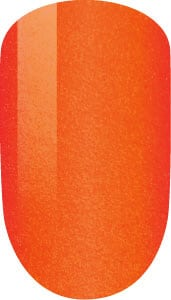 orange color sample on nail tip.