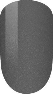 grey color sample on nail tip.