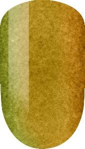 golden color sample on nail tip.