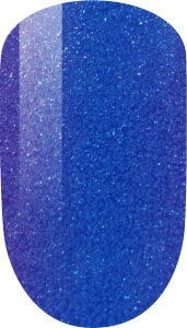 blue color sample on nail tip.
