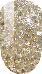 gold-silver color sample on nail-tip.