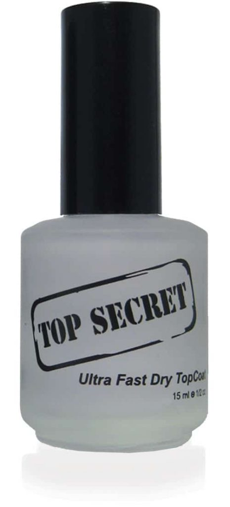 half liquid ounce bottle of top-secret nail top-coat.