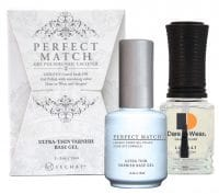 Perfect Match ultra-thin varnish base gel set of bottles with box.