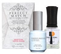 Perfect Match high gloss top gel sealer set of bottles with box.
