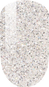white and glitter color sample on nail-tip.