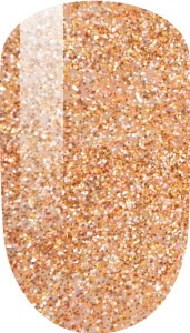orange and glitter color sample on nail tip.