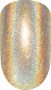 golden color sample with sparkle details on nail tip.