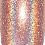 orange color sample with sparkle details on nail tip.