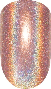 orange color sample with sparkle details on nail tip.