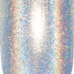 silver color sample with sparkle details on nail tip.