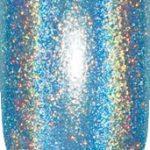 blue color sample with sparkle details on nail tip.