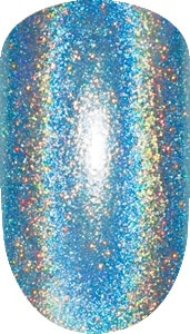 blue color sample with sparkle details on nail tip.