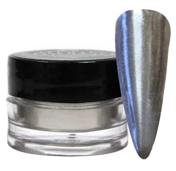 small jar of silver Mirano alongside sample nail-tip.