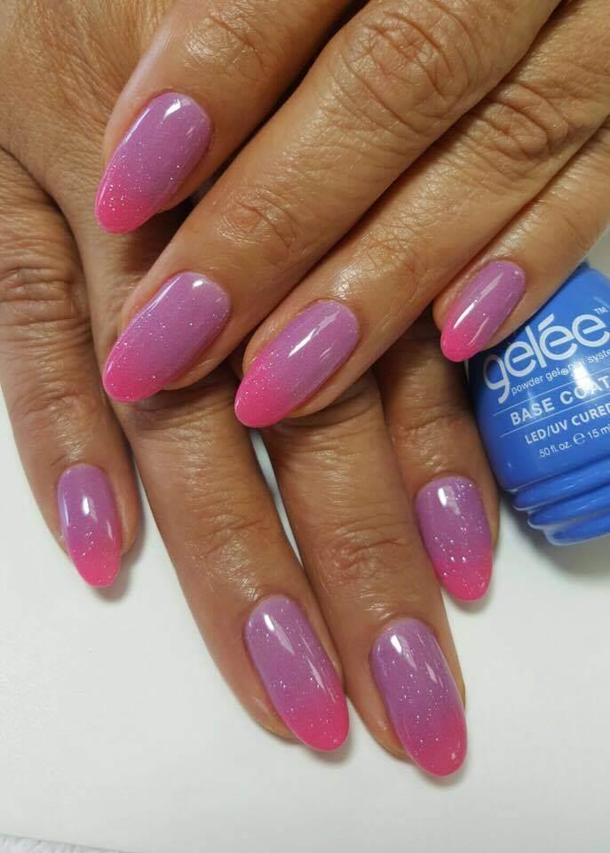 set of pink nails.