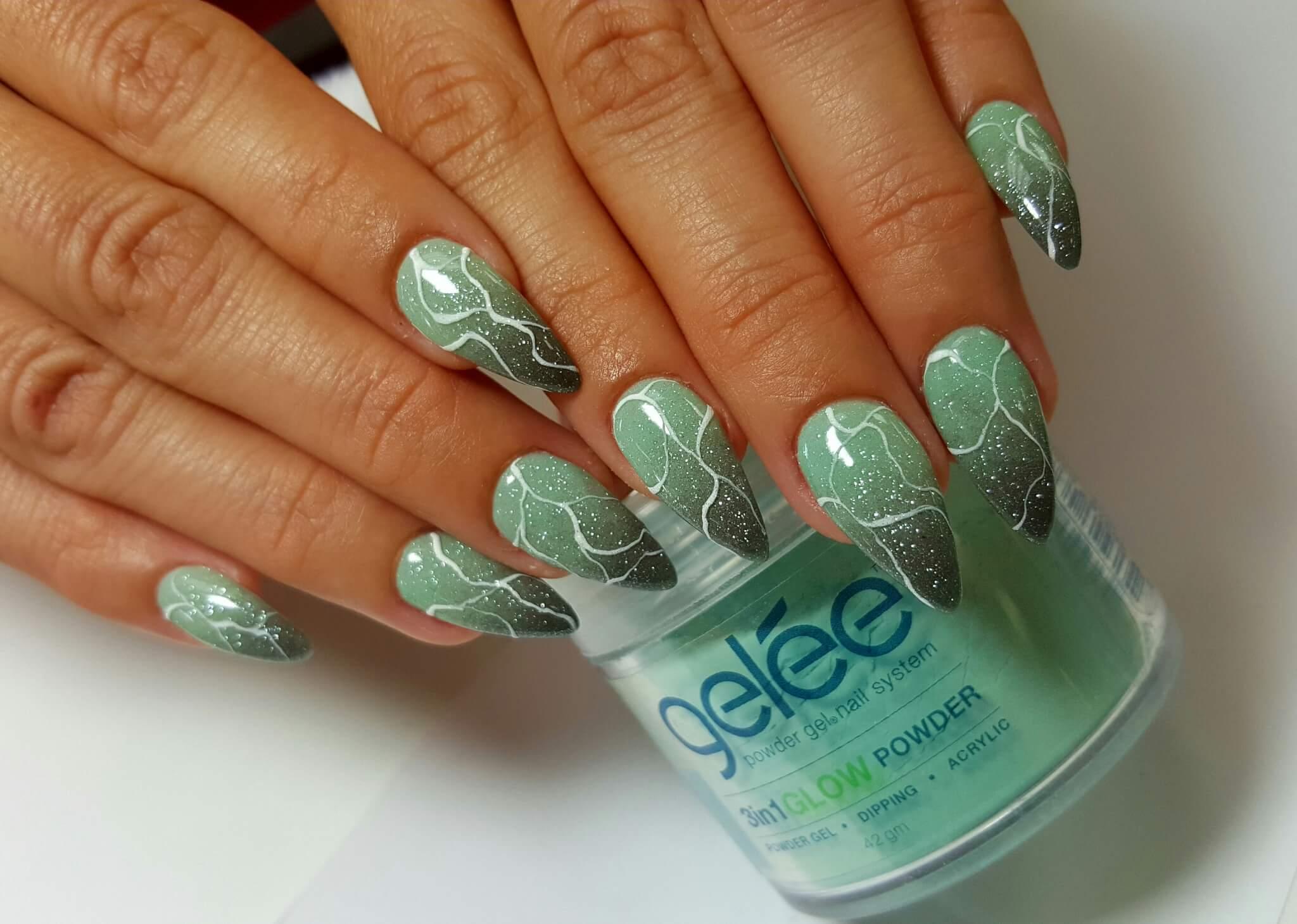 set of green and grey nails.