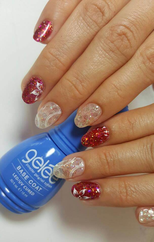 set of white and red nails.