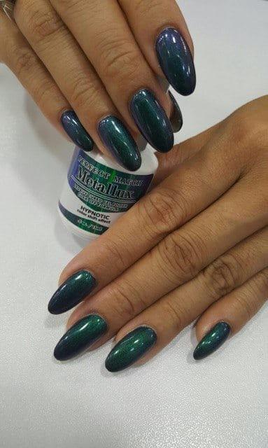 set of green nails.