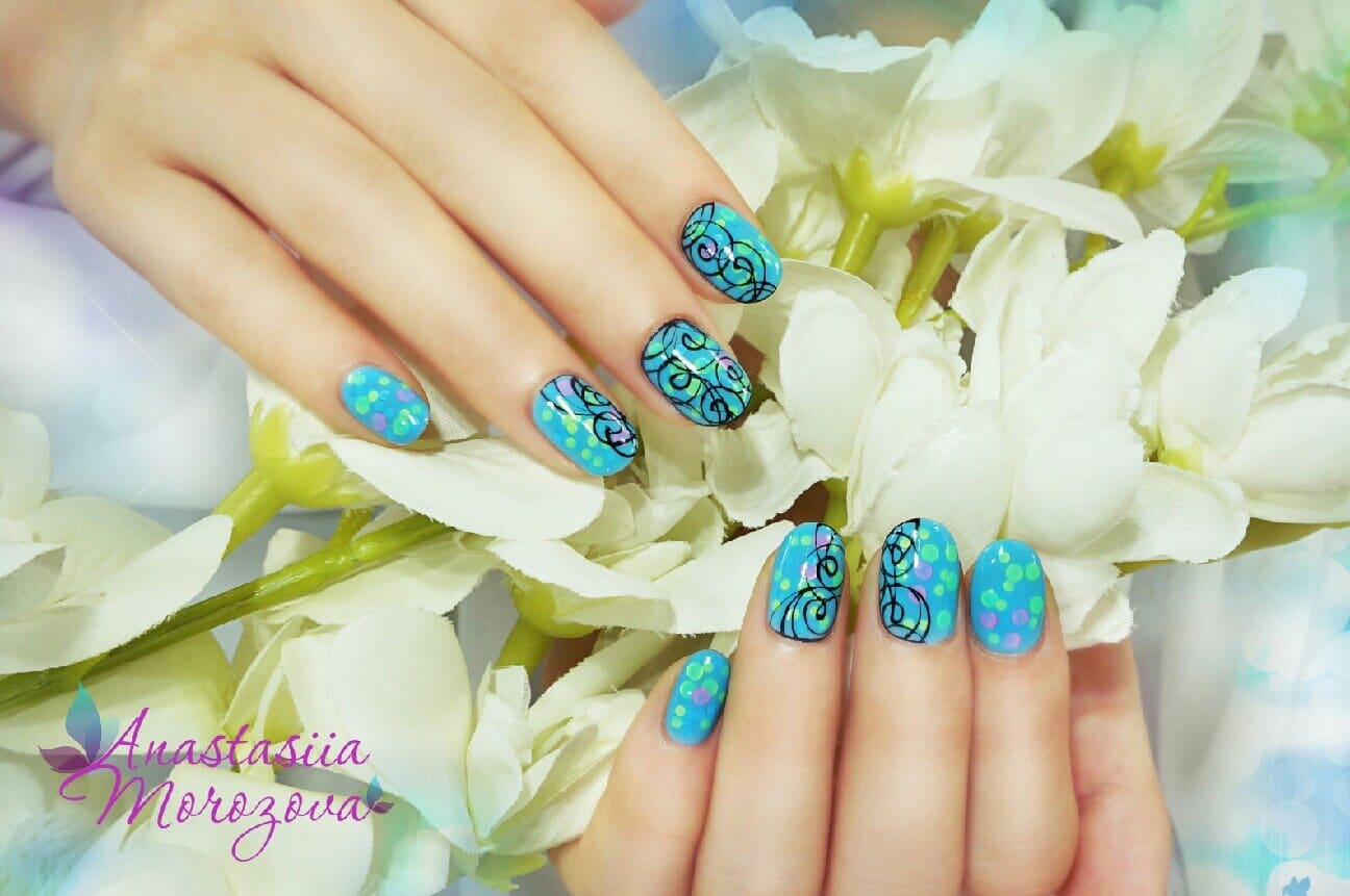 hands with decorated blue nails with black lines and colorful dots, art by Anastasiia Morozova.
