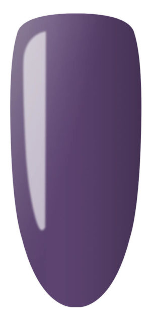 purple color sample on nail tip.