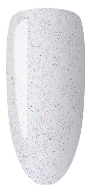 white color sample with glitter on nail tip.
