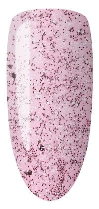 light pink color sample with glitter on nail tip.