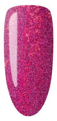 pink color sample with glitter on nail tip.