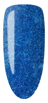 blue color sample with glitter on nail tip.