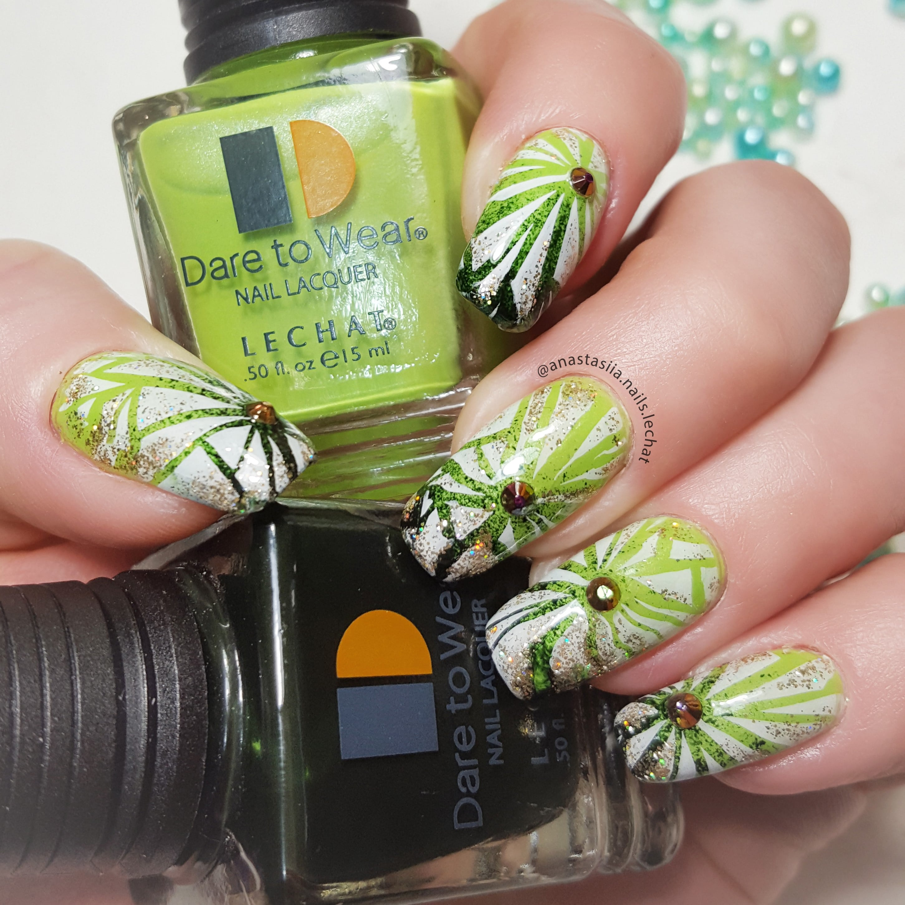 Dare to Wear nail art with bright and dark green