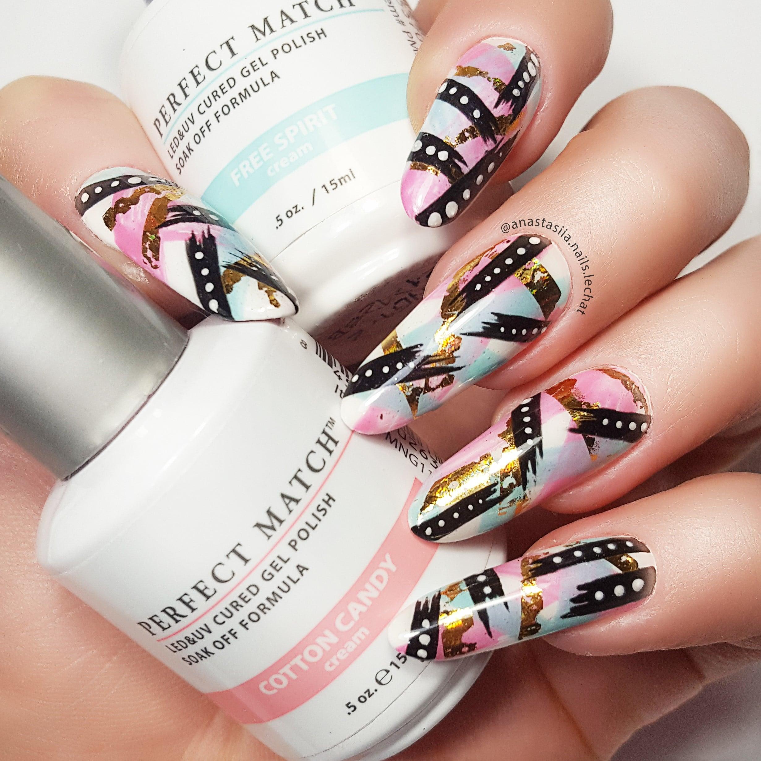 Perfect Match nail art using cotton candy and free spirit
