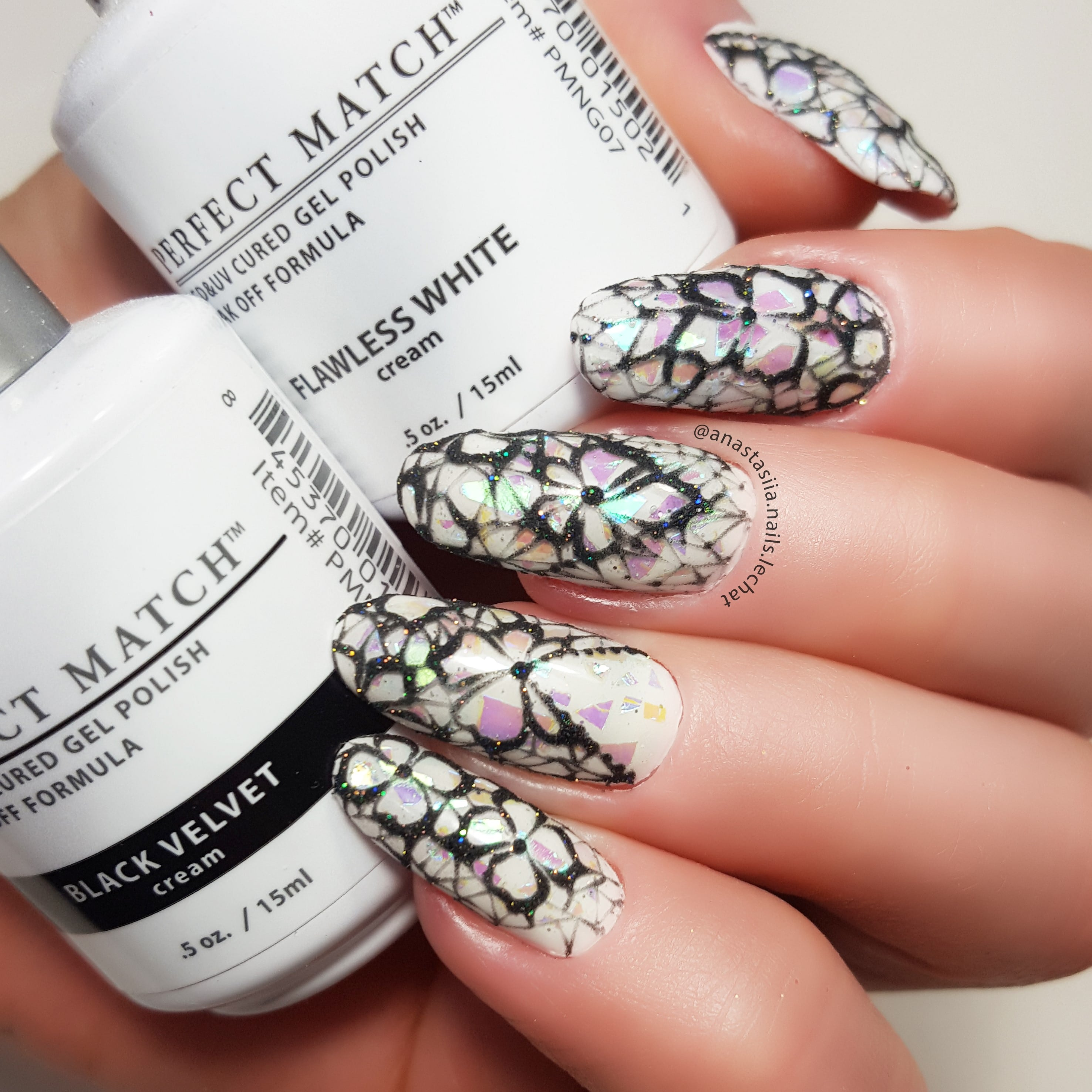 white and black nail design art