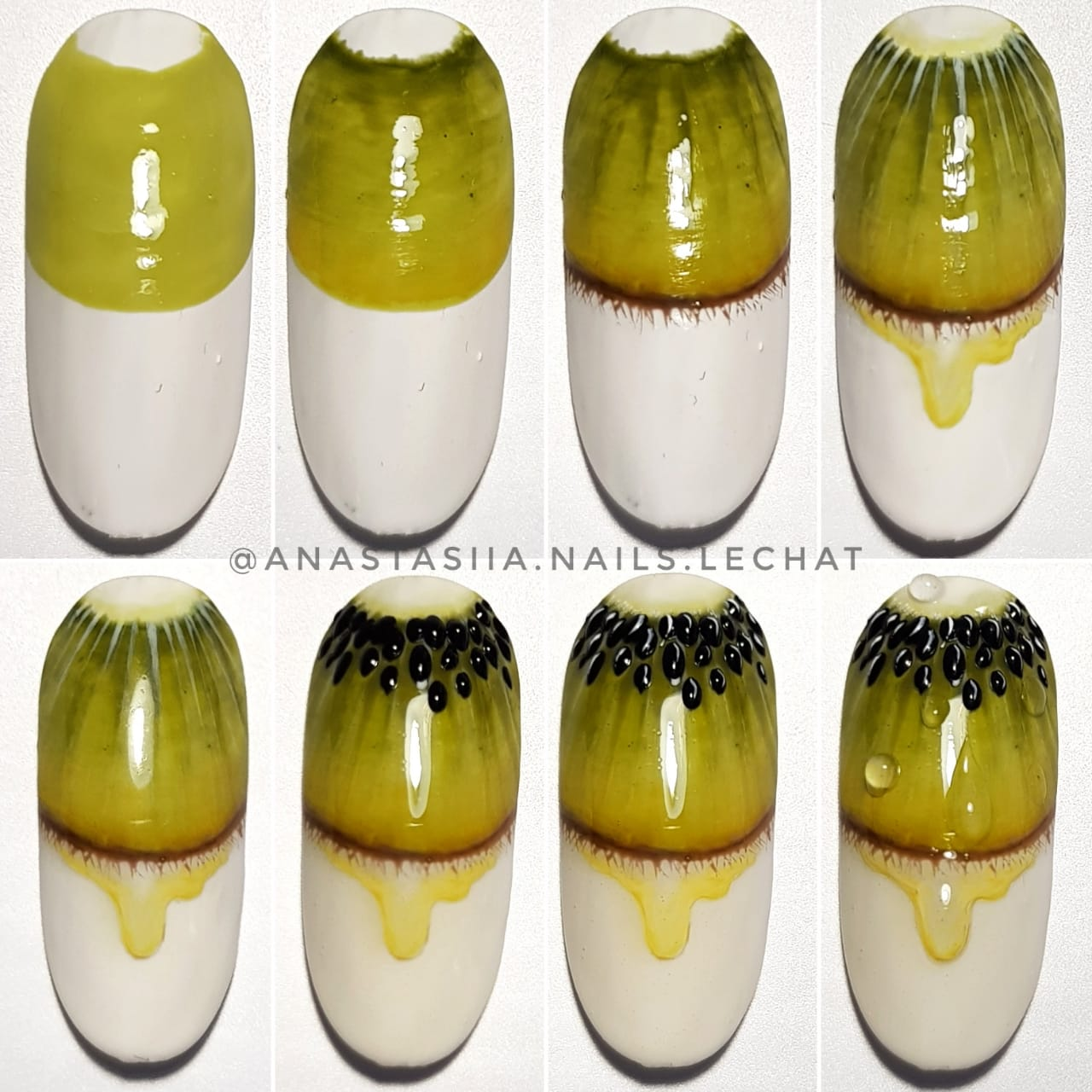 Kiwi design nail art